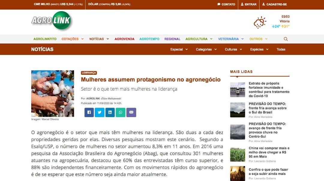 Mulheres assumem protagonismo no agronegócio - AGRO LINK
