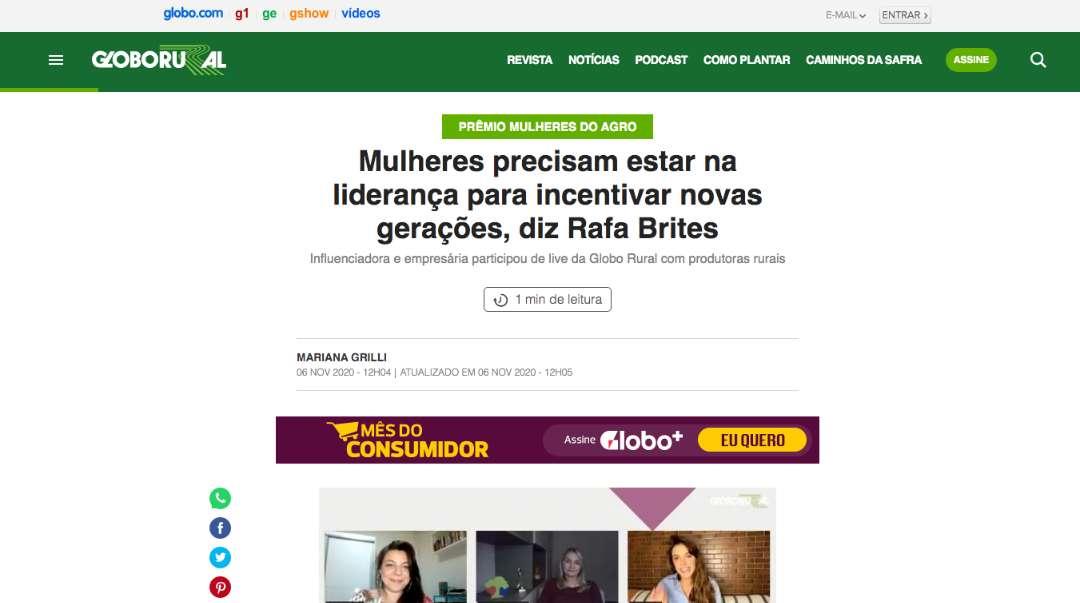 Mulheres precisam estar na liderança para incentivar novas gerações, diz Rafa Brites – Globo Rural