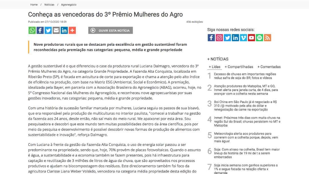 Conheça as vencedoras do 3º Prêmio Mulheres do Agro - Notícias Agrícolas